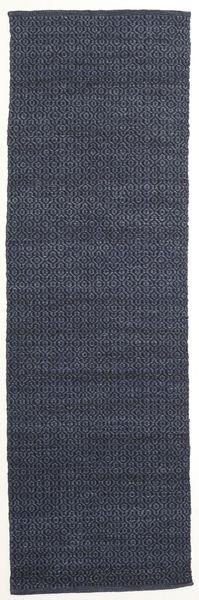 Alva - Blue/Black Rug 80X250 Authentic  Modern Handwoven Hallway Runner  Dark Blue/Purple (Wool, India)