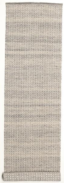 Alva - Brown/White Rug 80X350 Authentic  Modern Handwoven Hallway Runner  Light Grey/Beige (Wool, India)