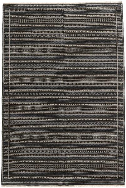 Kilim Rug 158X240 Authentic  Oriental Handwoven Dark Grey/Black (Wool, Persia/Iran)