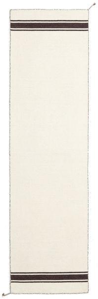 Ernst - Off White/Brown Rug 80X400 Authentic  Modern Handwoven Hallway Runner  Beige (Wool, India)
