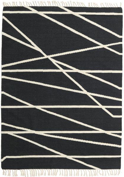 Cross Lines - Black/Off White Rug 160X230 Authentic  Modern Handwoven Dark Grey/Beige (Wool, India)