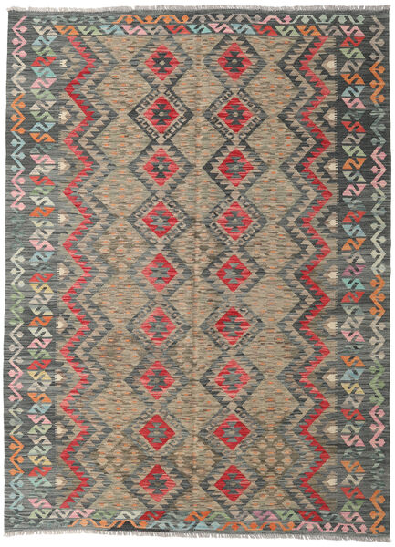 Kilim Afghan Old Style Rug 182X252 Authentic  Oriental Handwoven Light Grey/Dark Grey/Light Brown (Wool, Afghanistan)