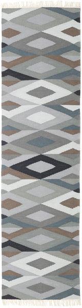 Zimba - Grey Rug 80X300 Authentic  Modern Handwoven Hallway Runner  Light Grey/Dark Grey (Wool, India)