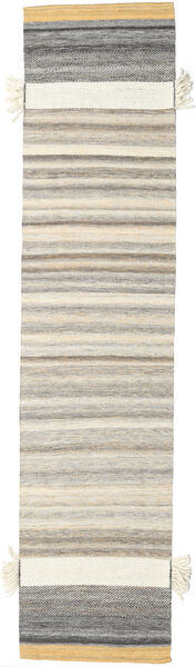 Fenix - Yellow Rug 80X250 Authentic  Modern Handwoven Hallway Runner  Light Grey/Beige (Wool, India)