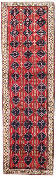 Afshar/Sirjan Rug 104X337 Authentic  Oriental Handknotted Hallway Runner  Crimson Red/Beige (Wool, Persia/Iran)