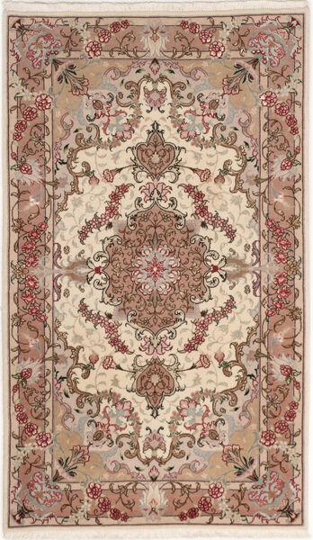 Tabriz 50 Raj With Silk Rug 75X127 Authentic  Oriental Handknotted Beige/Dark Brown (Wool/Silk, Persia/Iran)