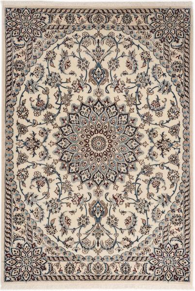 Nain 6La Rug 98X141 Authentic  Oriental Handknotted Light Grey/Beige (Wool/Silk, Persia/Iran)