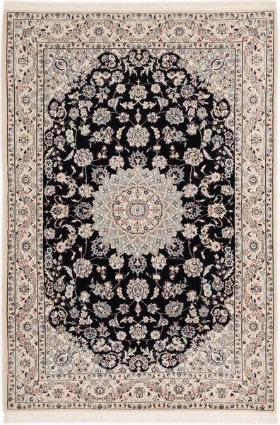 Nain 6La Rug 102X148 Authentic  Oriental Handknotted Light Grey/Black (Wool/Silk, Persia/Iran)
