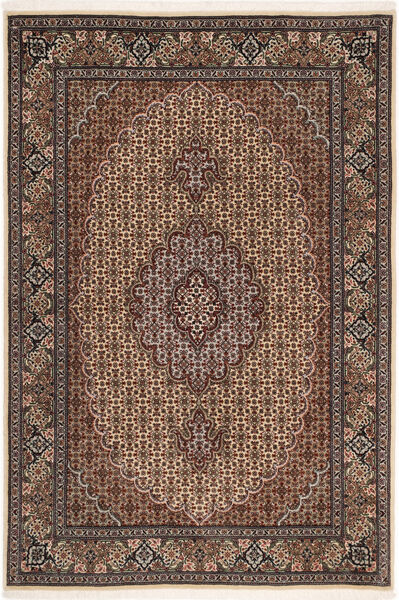 Tabriz 50 Raj Rug 100X150 Authentic  Oriental Handknotted Dark Brown/Brown (Wool/Silk, Persia/Iran)