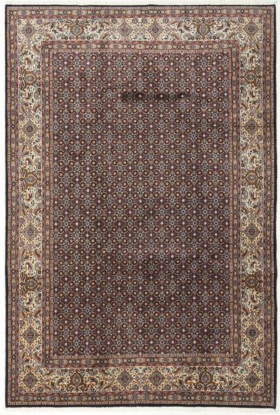Moud Rug 197X292 Authentic  Oriental Handknotted Dark Brown/Light Grey (Wool/Silk, Persia/Iran)