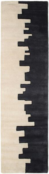 Little Town Handtufted Rug 80X350 Modern Hallway Runner  Black/Beige (Wool, India)