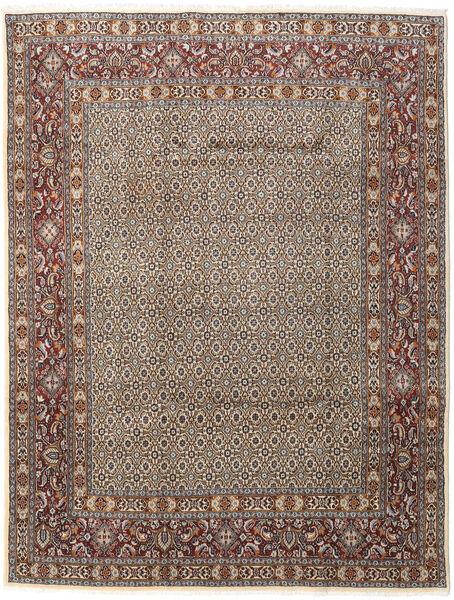 Moud Rug 196X256 Authentic  Oriental Handknotted Light Grey/Dark Brown (Wool/Silk, Persia/Iran)