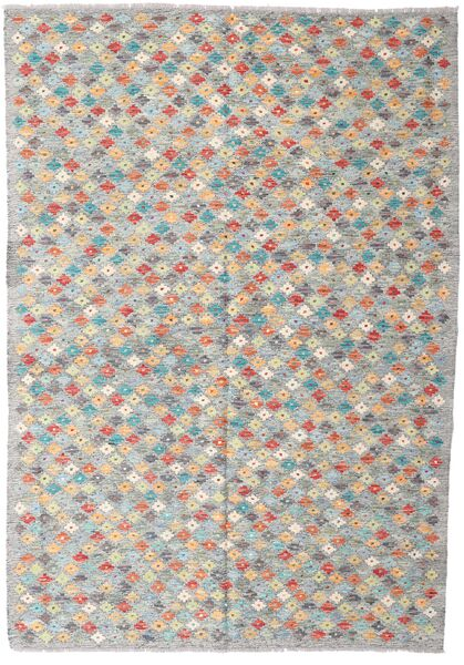 Kilim Afghan Old Style Rug 168X242 Authentic  Oriental Handwoven Light Grey/Dark Grey (Wool, Afghanistan)