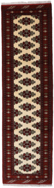 Turkaman Rug 80X293 Authentic  Oriental Handknotted Hallway Runner  Dark Brown/Dark Red (Wool, Persia/Iran)