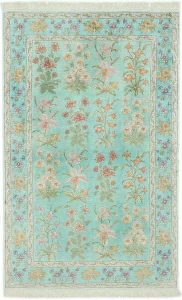 Qum Silk Rug 102X160 Authentic  Oriental Handknotted Pastel Green/Light Grey (Silk, Persia/Iran)
