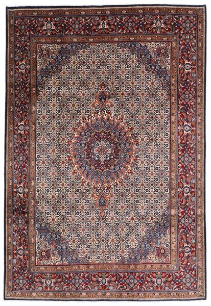 Moud Rug 195X300 Authentic  Oriental Handknotted Dark Brown/Dark Red (Wool/Silk, Persia/Iran)
