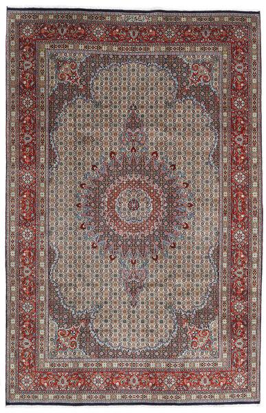 Moud Rug 200X307 Authentic  Oriental Handknotted Light Grey/Dark Brown (Wool/Silk, Persia/Iran)