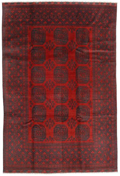Afghan Rug 195X288 Authentic  Oriental Handknotted Dark Red/Black (Wool, Afghanistan)