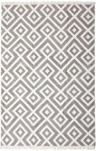 Bamboo Silk Kilim Rug 200X300 Authentic  Modern Handwoven Light Grey/White/Creme (Wool/Bamboo Silk, India)