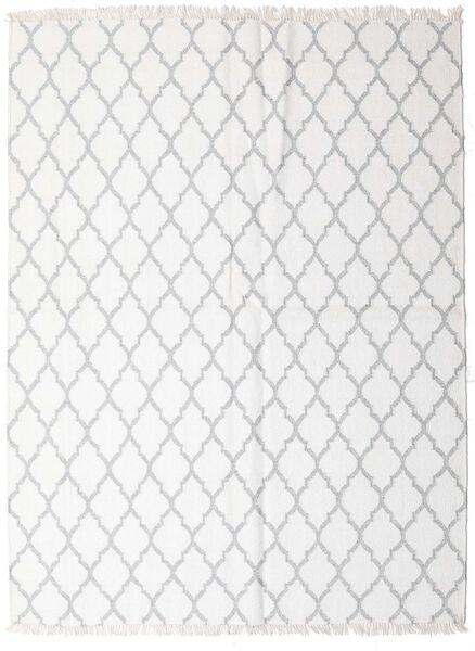 Bamboo Silk Kilim Rug 170X220 Authentic  Modern Handwoven White/Creme/Light Grey (Wool/Bamboo Silk, India)