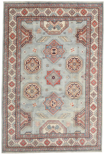 Kazak Rug 202X301 Authentic  Oriental Handknotted Light Grey/Dark Brown (Wool, Afghanistan)