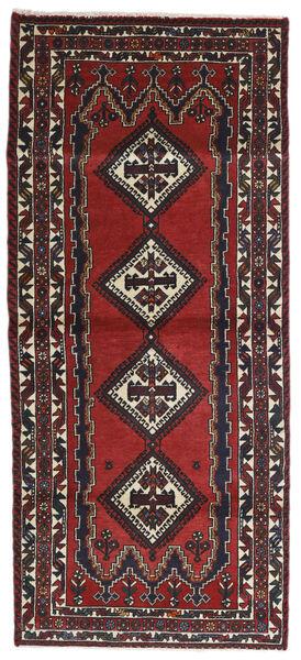 Afshar Rug 95X217 Authentic  Oriental Handknotted Hallway Runner  Dark Red/Black (Wool, Persia/Iran)