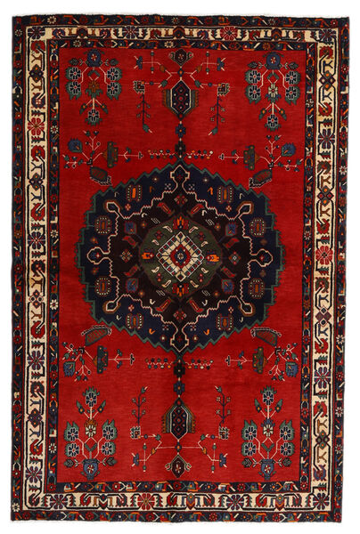 Afshar Rug 155X236 Authentic  Oriental Handknotted Black/Rust Red (Wool, Persia/Iran)