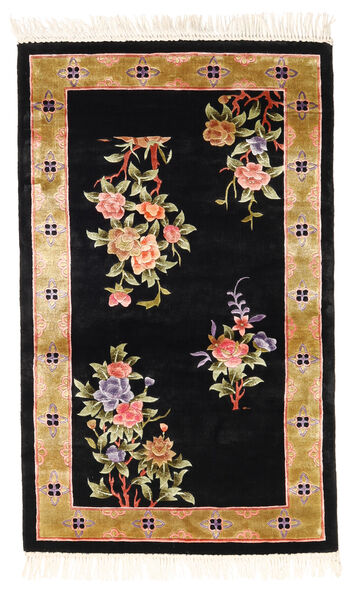 China Art Silk 120 Line Rug 91X152 Authentic  Oriental Handknotted Black/Brown ( China)