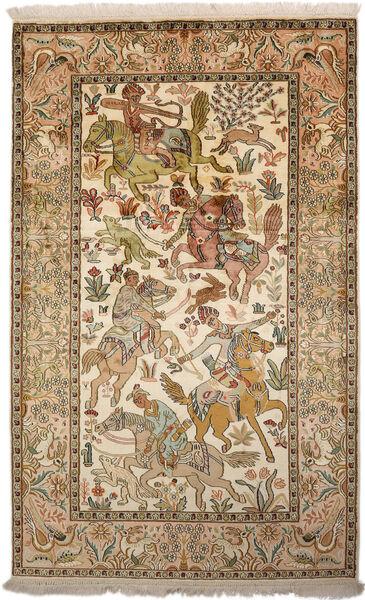 Kashmir Pure Silk Rug 94X152 Authentic  Oriental Handknotted Brown/Dark Beige (Silk, India)