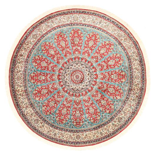Kashmir Pure Silk Rug Ø 184 Authentic  Oriental Handknotted Round Beige/Light Grey (Silk, India)