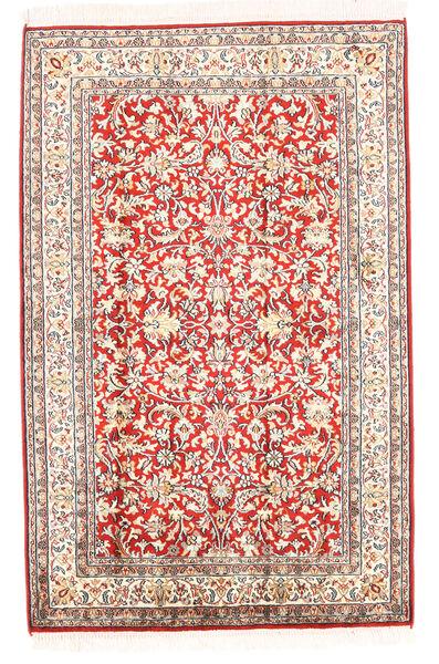 Kashmir Pure Silk Rug 78X121 Authentic  Oriental Handknotted Beige (Silk, India)