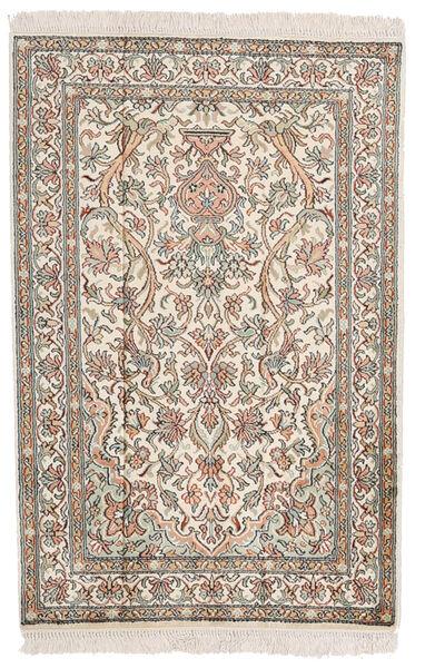 Kashmir Pure Silk Rug 62X94 Authentic  Oriental Handknotted Light Grey/Beige (Silk, India)