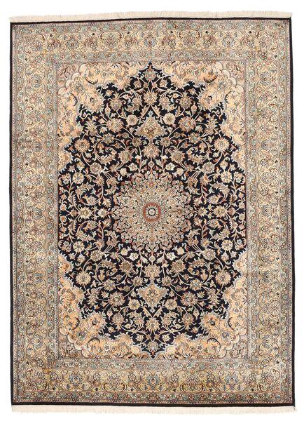 Kashmir Pure Silk Rug 160X219 Authentic  Oriental Handknotted Light Grey/Dark Brown/Brown (Silk, India)