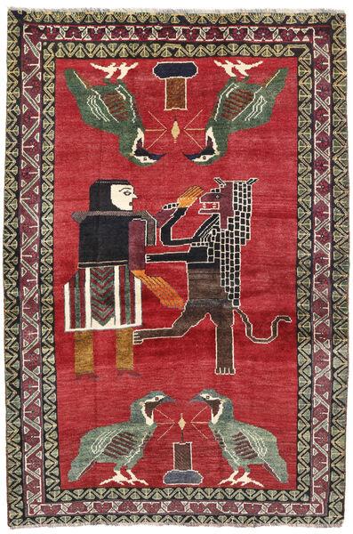 Qashqai Rug 124X195 Authentic  Oriental Handknotted Crimson Red/Dark Grey (Wool, Persia/Iran)