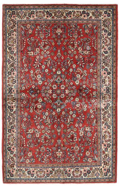 Sarouk Rug 132X206 Authentic  Oriental Handknotted Dark Red/Beige (Wool, Persia/Iran)