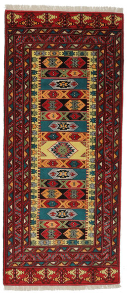 Turkaman Rug 85X194 Authentic  Oriental Handknotted Hallway Runner  Black/Dark Brown (Wool, Persia/Iran)