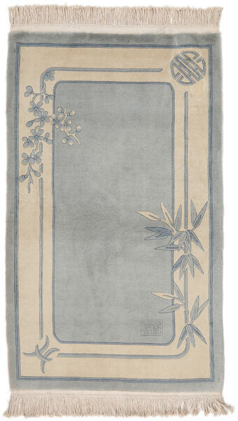 China 90 Line Rug 91X152 Authentic  Oriental Handknotted Dark Grey/Light Brown/Light Grey (Wool, China)
