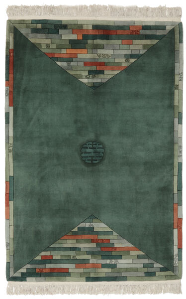 China 90 Line Rug 137X198 Authentic  Oriental Handknotted Black/Dark Green (Wool, China)