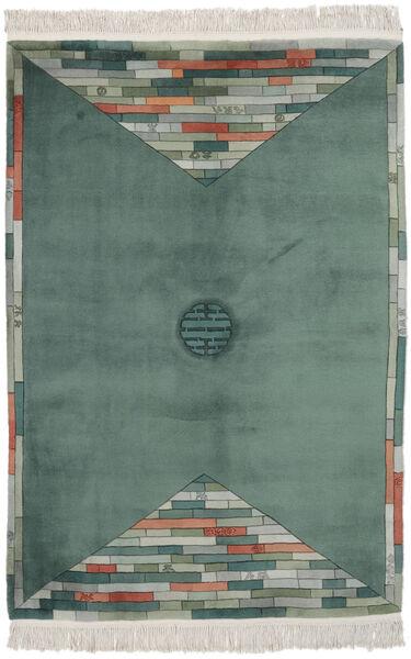 China 90 Line Rug 137X198 Authentic  Oriental Handknotted Dark Turquoise  /Dark Green (Wool, China)