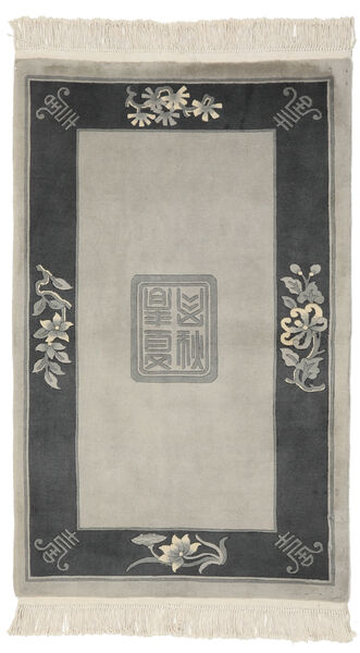 China 90 Line Rug 91X151 Authentic  Oriental Handknotted Olive Green/Black (Wool, China)
