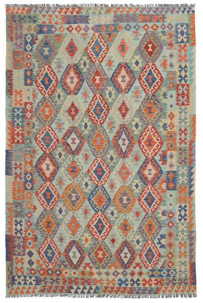 Kilim Afghan Old Style Rug 202X300 Authentic  Oriental Handwoven Black/Dark Green (Wool, Afghanistan)