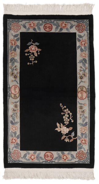 China 90 Line Rug 91X152 Authentic  Oriental Handknotted Black/Beige (Wool, China)