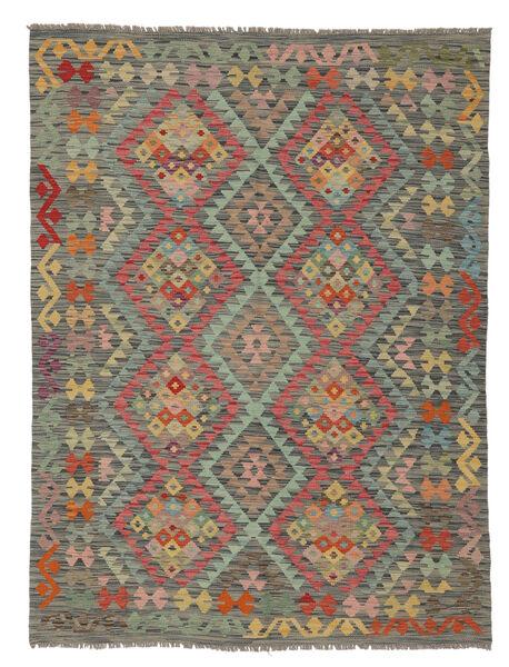 Kilim Afghan Old Style Rug 149X202 Authentic  Oriental Handwoven Dark Green/White/Creme (Wool, Afghanistan)