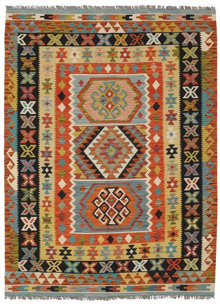 Kilim Afghan Old Style Rug 148X205 Authentic  Oriental Handwoven Black/Dark Red (Wool, Afghanistan)