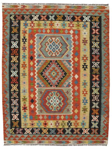 Kilim Afghan Old Style Rug 148X197 Authentic  Oriental Handwoven Dark Red/Black (Wool, Afghanistan)