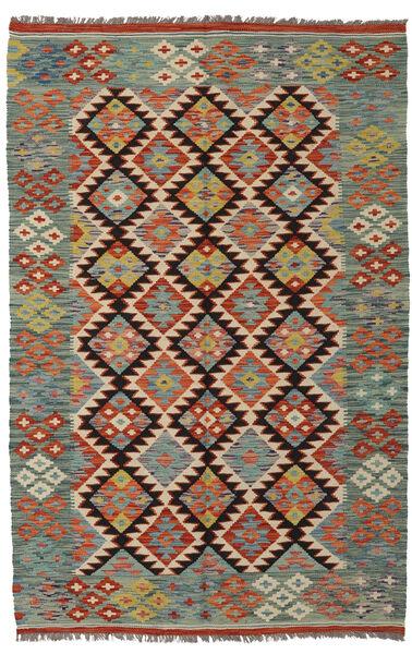 Kilim Afghan Old Style Rug 126X190 Authentic  Oriental Handwoven Dark Green/Dark Brown (Wool, Afghanistan)