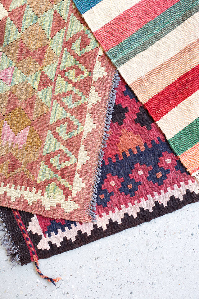 Brown / yellow  kilim afghan old style -  Carpet in a kitchen.