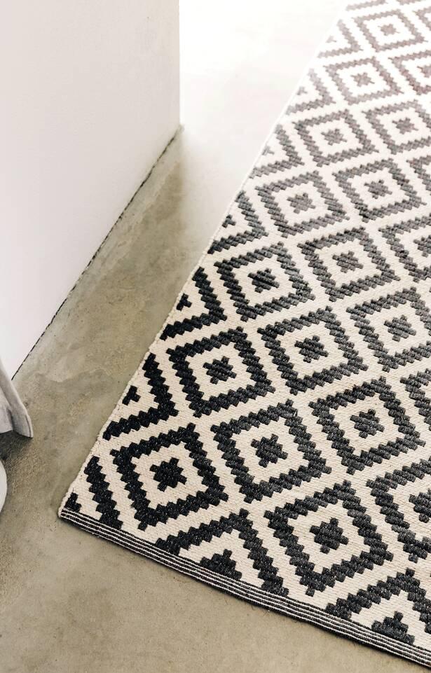 Black / grey runner cotton dhurrie mws 1 side -  Carpet in a kitchen.