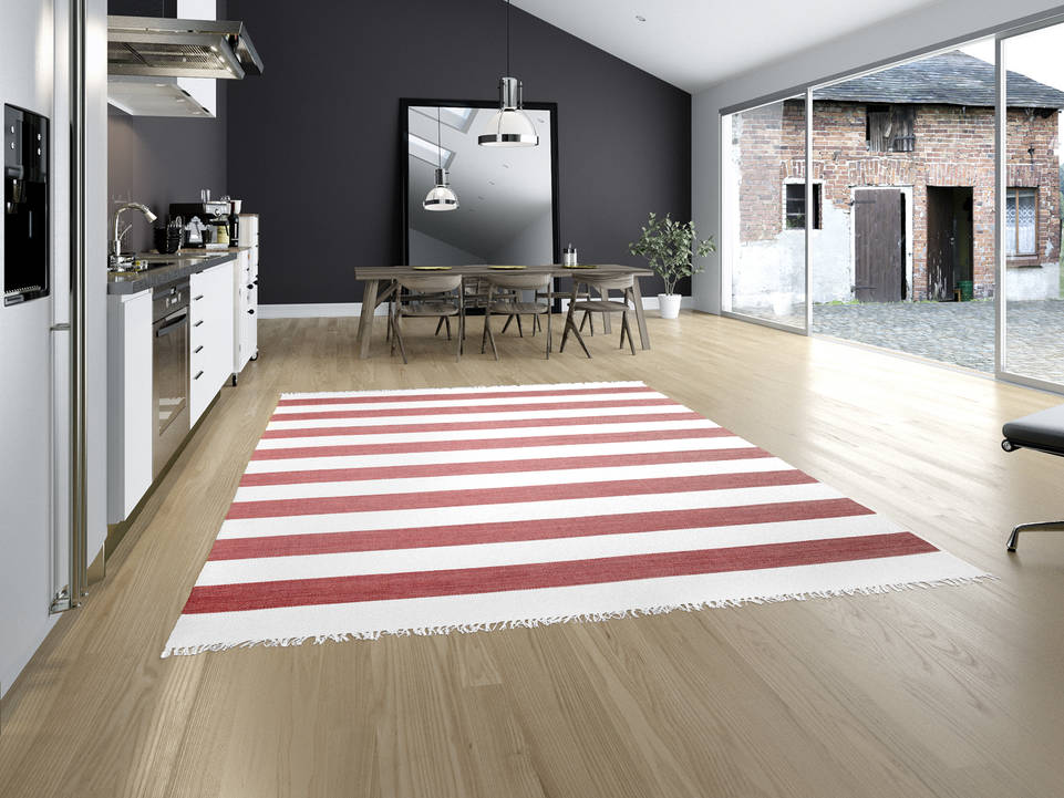 Red  cotton dhurrie -  Carpet in a kitchen.