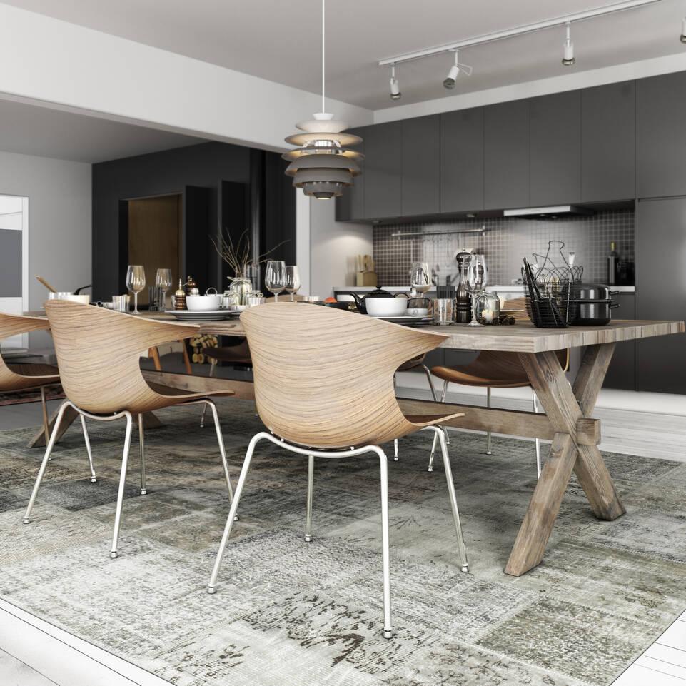 Black / grey runner patchwork - turkiet -  Carpet in a kitchen.